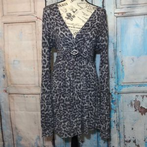 Vertigo Paris Dress Tunic Animal Print Faux Wrap